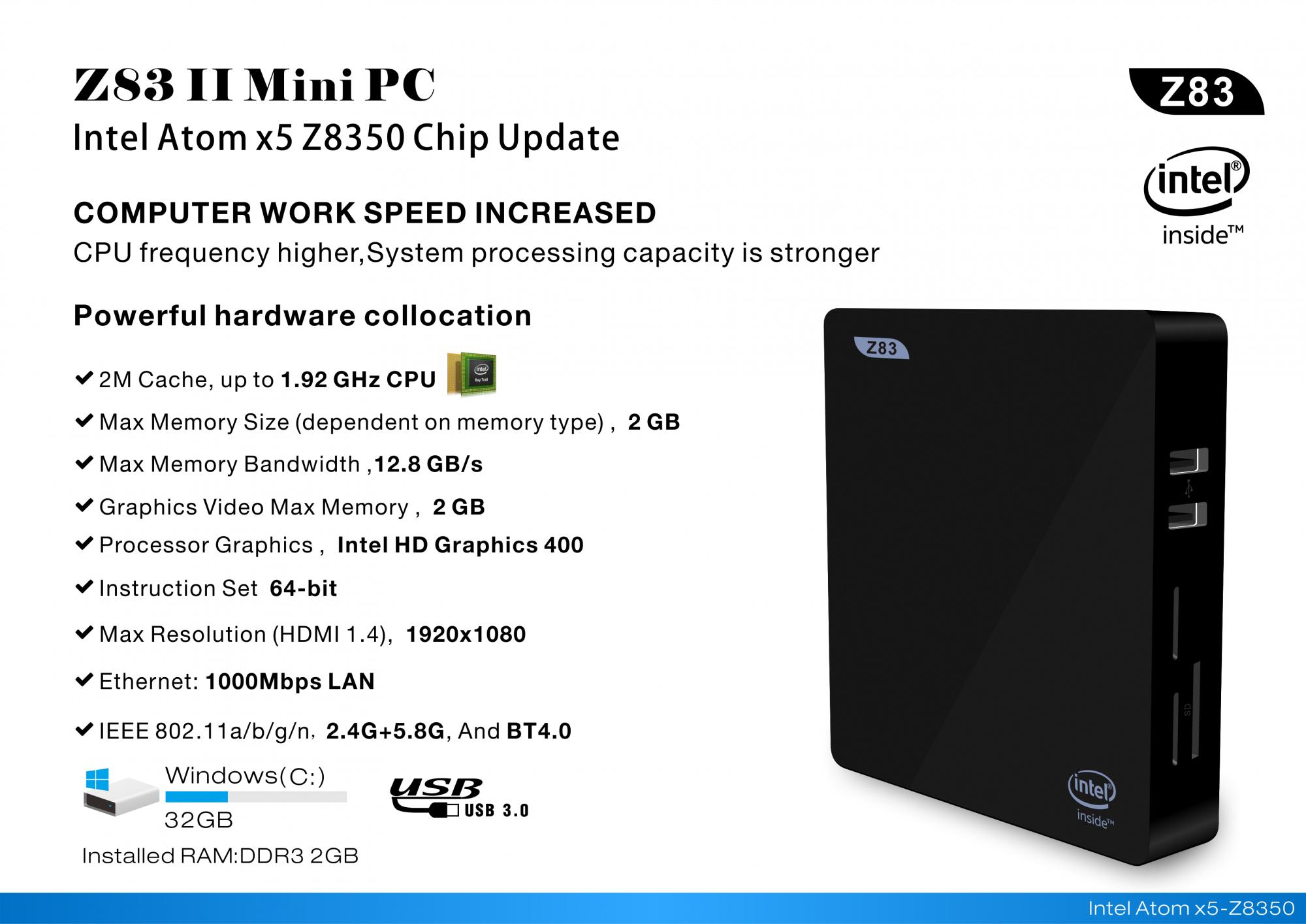 High Quality Mini Pc New Smart Z83 Ii Gospel Price 2gb 32gb Kodi Ram Ddr3 170 Wifi 40 4k